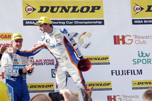 Round 4 of the 2016 British Touring Car Championship. Race 3 podium. Jason Plato and Sam Tordoff.